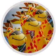 Sky Giraffes Round Beach Towel