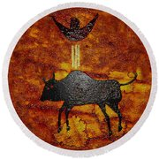 Sky People Taking Buffalo Round Beach Towel