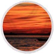 Sky Ripple Sunset Round Beach Towel