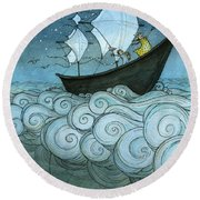 Sky Sailing Round Beach Towel