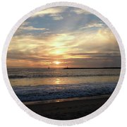 Sky Swirls Over Toes Beach Round Beach Towel by Lorraine Devon Wilke
