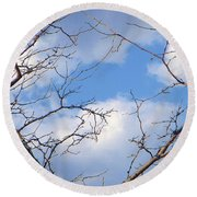 Look At The Blue Sky Round Beach Towel