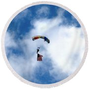 Skydiver With Flag Round Beach Towel