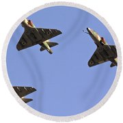 Skyhawk Fighter Jet In Formation  Round Beach Towel