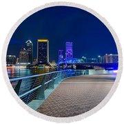 skyline and river coast scenes in Jacksonville Florida Round Beach Towel