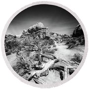 Skyline Arch In Arches National Park Round Beach Towel