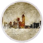 skyline of Atlanta in modern and abstract vintage-look Round Beach Towel