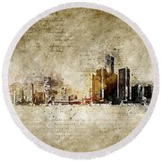 skyline of Detroit in modern and abstract vintage-look Round Beach Towel