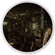 Skyline Of New York City - Lower Manhattan Night Aerial Round Beach Towel