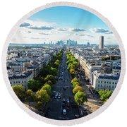 Skyline Of Paris, France Round Beach Towel