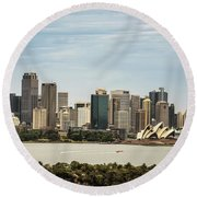 Skyline Of Sydney Downtown  Viewed From Taronga Hill, Australia Round Beach Towel