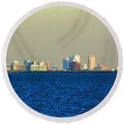 Skyline Of Tampa Bay Florida Round Beach Towel