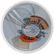 skyline of Uptown charlotte mini planet in winter Round Beach Towel