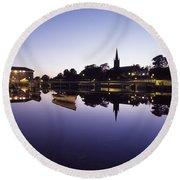Skyline Over The R Garavogue, Sligo Round Beach Towel