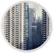 Skyscraper Windows Round Beach Towel
