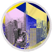 Skyscrapers Round Beach Towel