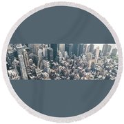 Skyscrapers View From Above Building 83641 3840x1200 Round Beach Towel