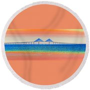 Skyway Morning Round Beach Towel