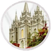 Slc Temple Angle Round Beach Towel by La Rae  Roberts