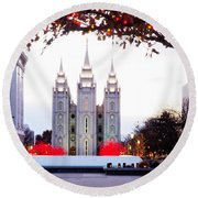 Slc Temple Red And White Round Beach Towel