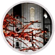 Slc Temple Red White N Black Round Beach Towel by La Rae  Roberts