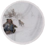 Sled Before The Dogs? Round Beach Towel