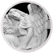 Sleeping Angel Round Beach Towel
