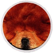 Sleeping Chow Chow Round Beach Towel
