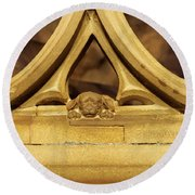 Sleeping Dog In Strasbourg Cathedral Round Beach Towel