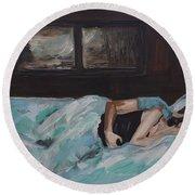 Sleeping In Round Beach Towel by Leslie Allen