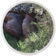 Sleeping In The Jungle - Stone Face In Forest Round Beach Towel