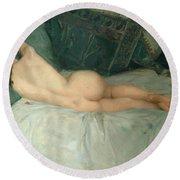 Sleeping Naked Woman Round Beach Towel