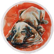 Sleeping Spaniel On The Red Carpet Round Beach Towel