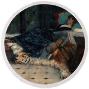 Sleeping Woman With A Book Round Beach Towel