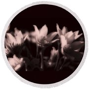 Sleepy Flowers 2 Round Beach Towel