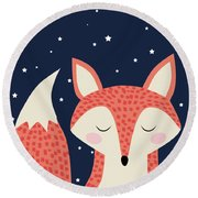 Sleepy Fox Round Beach Towel