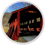 Sleepy Hollow Bridge Round Beach Towel