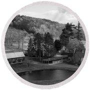 Sleepy Hollows Farm Woodstock Vermont Vt Pond Black And White Round Beach Towel