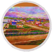 Sleepy Little Village Round Beach Towel