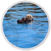 Sleepy Otter Round Beach Towel