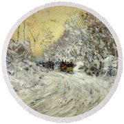 Sleigh Ride In Central Park Round Beach Towel by Childe Hassam