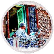 Slice Of Life Sunny Sunday Morning Newspaper India Rajasthan Udaipur 2a Round Beach Towel