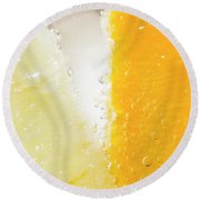 Slice Of Orange And Lemon In Cocktail Glass Round Beach Towel