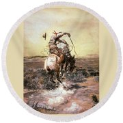 Slick Rider Round Beach Towel by Charles Russell