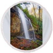 Slick Rock Falls, A North Carolina Waterfall In Autumn Round Beach Towel