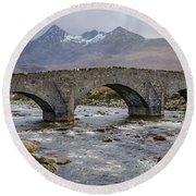 Sligachen Bridge And The Black Cullin, Isle Of Skye Round Beach Towel