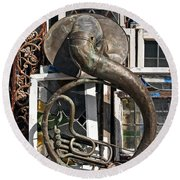 Slightly Worn Out Vintage Tuba Seeks New Home Round Beach Towel
