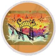 Slinky Cat Round Beach Towel