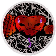 Slithering Blue Round Beach Towel
