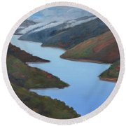Sliver Of Crystal Springs Round Beach Towel